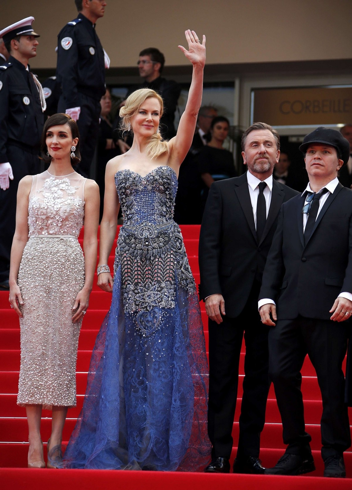 Director Olivier Dahan, cast members Paz Vega, Nicole Kidman, Tim Roth pose on the red carpet as they arrive for the opening ceremony and the screening of the film