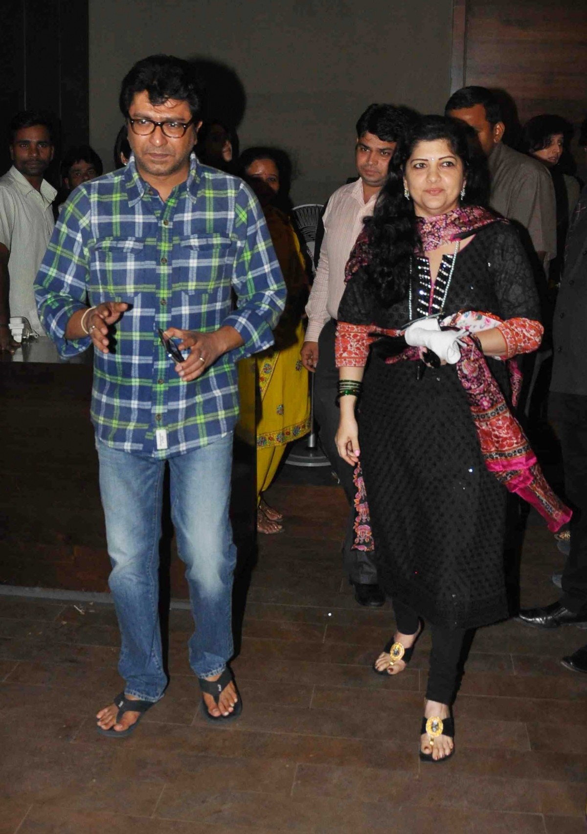 Raj Thackrey with Wife at the special screening