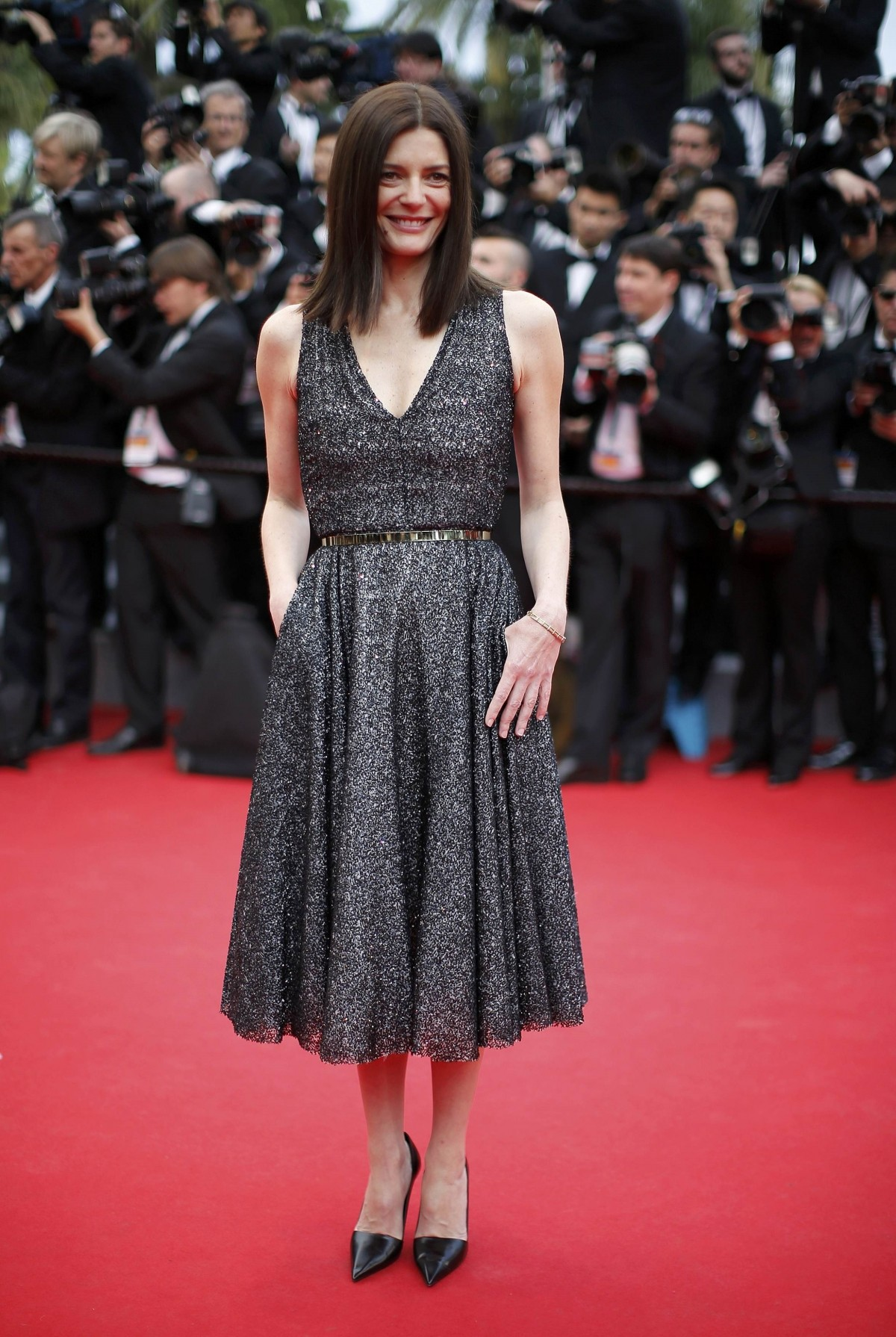 Actress Chiara Mastroianni poses on the red carpet as she arrives for the opening ceremony and the screening of the film