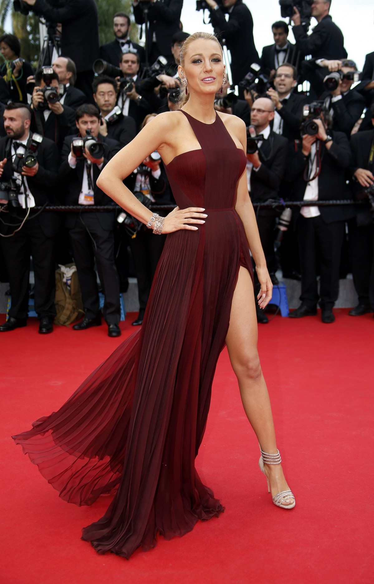 Actress Blake Lively poses on the red carpet as she arrives for the opening ceremony of the 67th Cannes Film Festival in Cannes