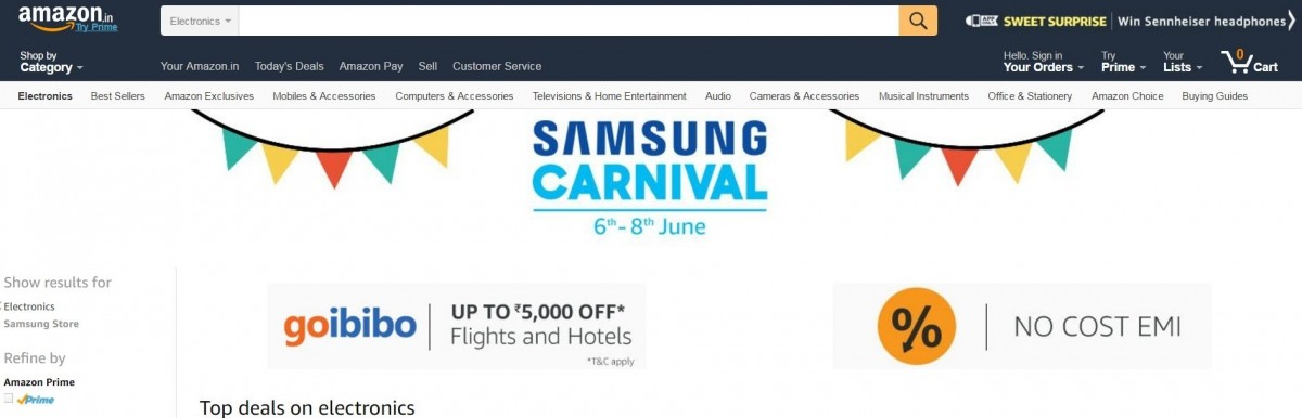 Amazon India, Samsung Carnival, top deals, mobile, Smart TVs