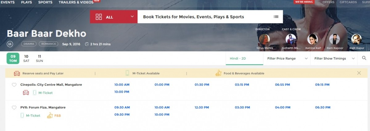 Bookmyshow Mangalore