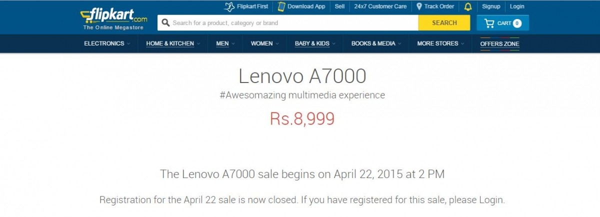 Lenovo A7000 Flipkart Flash Sale 2.0 to Kick-off on 22 April