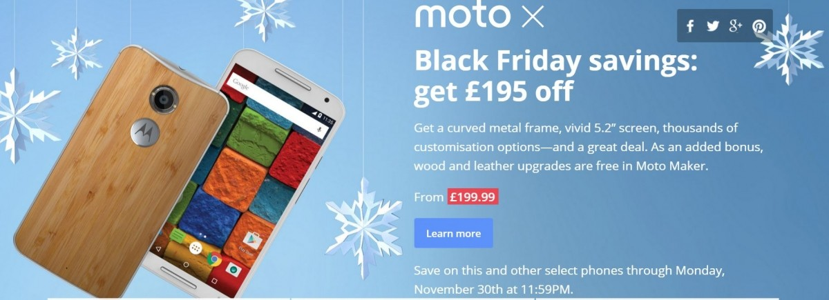 Motorola UK: Black Friday Sale offers huge discounts on Moto X Style, Play, Nexus 6