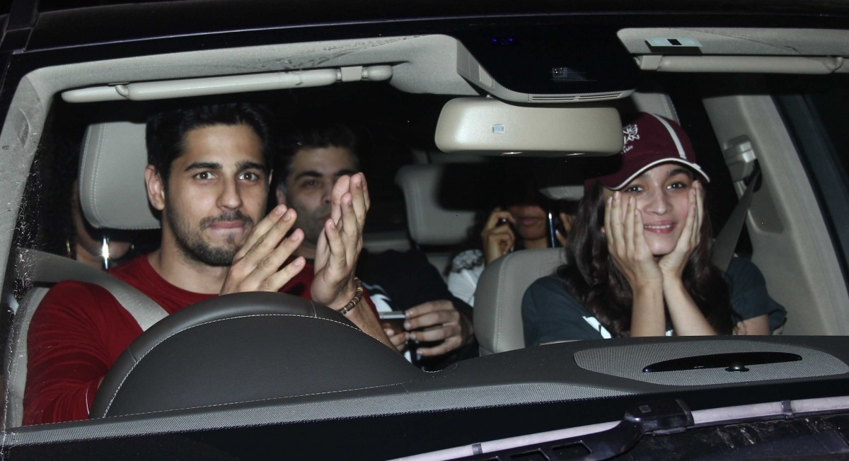 Sidharth Malhotra with Alia Bhatt and Karan Johar