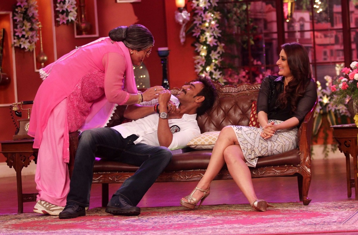 Dadi tries to steal a kiss from Devgn