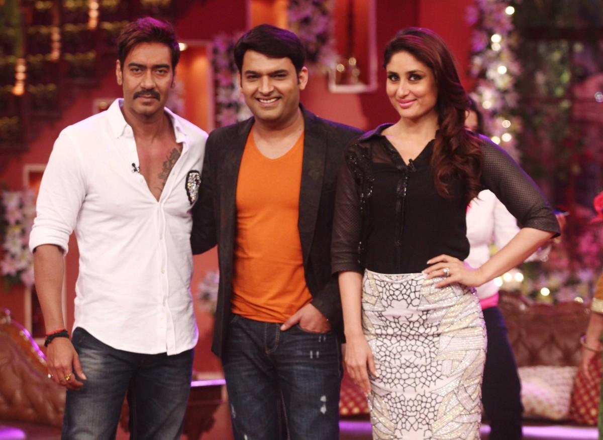 Ajay Devgn, Kapil Sharma, Kareena Kapoor Khan pose for the camera