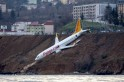 Terrifying video shows Pegasus Airlines plane skidding off runway with nose inches away from Black Sea