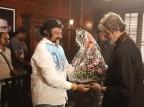 Veteran actor Nandamuri Balakrishna met Bollywood Mega Star Amitabh Bachchan on sets of Sarkar 3 movie, which is a sequel to Sarkar movie directed by Ram Gopal Varma.