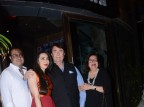 Randhir Kapoor poses for photographers with Karisma Kapoor and Babita Kapoor during birthday party, held at China Garden in Khar, Mumbai.