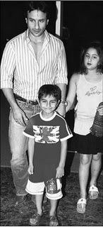 Sara (R) with father Saif Ali Khan and younger brother Ibrahim. (Facebook)