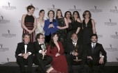 Cast and crew members from Brazilian award winning shows for Best Telenovela Império (Empire) and Best Comedy Doce de Mae (Sweet Mother) pose for a group photo backstage during the 43rd International Emmy Awards Gala in Manhattan.