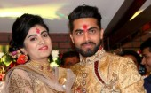 Indian all-rounder Ravindra Jadeja engaged to Riva Solanki in Rajkot. The engagement ceremony was held at Jadeja's own restaurant and the cricketer expressed hope that lady luck would help him do better in both cricket and personal life. Ravindra Jadeja's Family and friends attend the event.