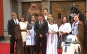 Star Wars wedding: Darth Vader walks bride down the aisle for super-fan wedding in The Force Awakens queue