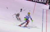 Drone dangerously crashes to ground narrowly missing world champion skier