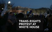 Trans-rights activists protest Donald Trump policies outside White House
