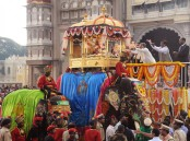 A colourful victory parade, led by a dozen caparisoned elephants, from the royal palace in the city centre marked the grand finale of the 11-day Dasara fest here on Tuesday.