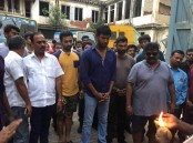 Actor Vishal, Prasanna, Director Myskkin and Team celebrate Ayudha Pooja on the set of Thupparivalan on location.