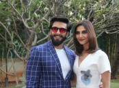 Photos of Bollywood actor Ranveer Singh and Vaani Kapoor promote Befikre at Yash Raj studios.