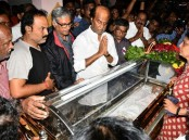Rajinikanth pays last respect to Cho Ramaswamy.