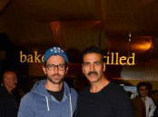 Hrithik Roshan with Akshay Kumar spotted at Kaabil special screening.