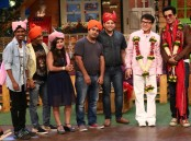 Hollywood actor Miya Muqi, Bollywood actor Amyra Dastur, Hong Kong filmmaker Stanley Tong, Bollywood actor Disha Patani, Hollywood actor Jackie Chan and Bollywood actor Sonu Sood during the promotion of film Kung Fu Yoga on the sets of The Kapil Sharma Show in Mumbai on January 23, 2017.