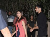 Sidharth Malhotra and Alia Bhatt spotted at Shahid Kapoor's pre birthday bash.