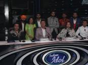 Bollywood actor Govinda, filmmaker Smita Thackeray and Singer Sonu Nigam on the sets of Sony TV's singing reality show Indian Idol season 9 to promote his film Aa Gaya Hero in Mumbai.