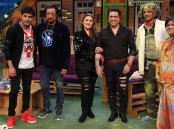 Bollywood actor Govinda and Shakti Kapoor promote Aa Gaya Hero on the sets of The Kapil Sharma Show in Mumbai on February 21, 2017.