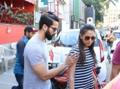 Bollywood actor Shahid Kapoor and wife Mira Rajput spotted at Bandra.