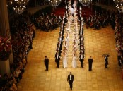 Members of the opening committee perform during the opening ceremony of the traditional Opera Ball in Vienna, Austria.