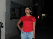 Bollywood actress Pooja Hegde spotted at PVR Juhu in Mumbai on March 22, 2017.