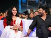 Anushka Shetty and Prabhas at Baahubali 2 pre release event.
