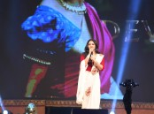 Baahubali 2: The Conclusion movie Pre Release event held at Ramoji Film City in Hyderabad. South Indian actress Anushka Shetty spotted suring the event.