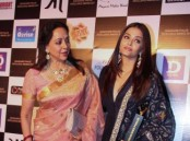 Bollywood actress Hema Malini and Aishwarya Rai Bachchan spotted during Dadasaheb Phalke Excellence Awards 2017, in Mumbai on April 21, 2017.