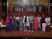 "Bollywood actor Aamir Khan with his wife and filmmaker Kiran Rao with Dangal team during the visit On the set Of "" Sa Re Ga Ma Pa 2017"" in Mumbai on May 20, 2017."