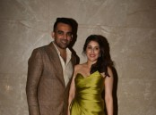 Indian cricketer Zaheer Khan and actress Sagarika Ghatge pose during their engagement ceremony, in Mumbai, on May 23, 2017.