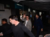 Hollywood actor Brad Pitt spotted at PVR cinema for promote his film War Machine in Mumbai on May 24, 2017.