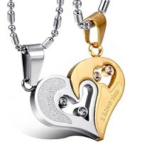 Two-piece Heart Pendant Necklace