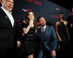 "Cast member Ben Affleck (3rd L) poses with co-star Anna Kendrick (2nd L), as cast members J.K. Simmons (L), Cynthia Addai-Robinson and John Lithgow watch, at the premiere of ""The Accountant"" at the TCL Chinese theatre in Hollywood, California."