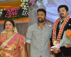 Tamil Actress Jayachitra's son Amresh Ganesh and Keerthi Hanusha Wedding Reception held at Chennai. Celebs like Jyothika, Vishal, Nassar, Durga Stalin, J Mahendran, Lakshmi, Sivakumar, JK Ritheesh, Kutty Padmini, Radhika, Sarathkumar, Ponvannan, Rayanne Hardy, Rahul, Gangai Amaran, Sachu, and others graced the event.