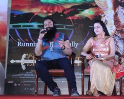Photos of Gurmeet Ram Rahim Singh at MSG: The Warrior Lion Heart Success party.