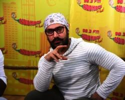 Photos of Bollywood actor Aamir Khan promotes Dangal movie at Radio Mirchi studio.
