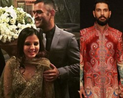 MS Dhoni and his wife Sakshi Rawat, Harbhajan Singh and his wife Geeta Basra, Sourav Ganguly attend Yuvraj Singh and Hazel Keech's wedding reception.