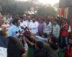 South Indian actor Jr.NTR with his family visits NTR ghat on his 21st Death Anniversary Day.