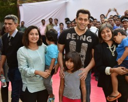 Bollywood actor Salman Khan at Parle Agro along with Nadia Chauhan and Schauna Chauhan.