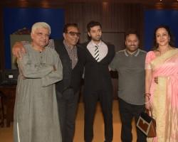Celebs like Javed Akhtar, Dharmendra, Utkarsh Sharma, Anil Sharma and Hema Malini spotted during the mahurat ceremony of Utkarsh Sharma's debut film Genius in Mumbai on May 22, 2017.