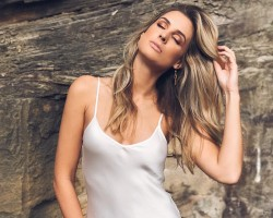 Actress Laura Dundovic flaunts her ample cleavage.