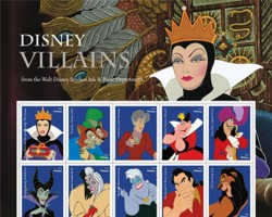 """The classical characters featured on the stamps include the Evil Queen from """"Snow White and the Seven Dwarfs"""", Captain Hook from """"Peter Pan"""", Maleficent from """"Sleeping Beauty"""" and Scar from """"The Lion King"""", reports Xinhua news agency. Each stamp showcases one Disney villain set against a blue background, with his/her name on the left edge. Postmaster Genera Megan J. Brennan joined by Disney officials dedicated the stamps on Saturday afternoon during the annual Disney fan even D23 Expo at Anaheim Convention Centre, California."""