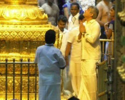 """Actor Ajith Kumar offered his prayers at Tirupati temple on Tuesday ahead of the release of his Tamil film """"Vivegam"""" next month. In a video that has gone viral on social media, Ajith is seen dressed in white shirt and dhoti and posing with fans for selfies at the temple. """"He had gone to attend the Subhprabhat seva darshan on Tuesday morning. He had reached Tirupati on Monday night,"""" a source close to the actor told IANS."""